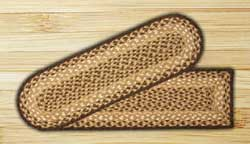 Chocolate and Natural Braided Jute Stair Tread - Oval