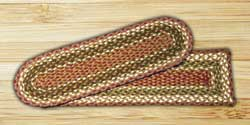 Olive and Burgundy and Gray Braided Jute Stair Tread - Oval