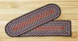 Burgundy, Blue, and Gray Braided Jute Stair Tread - Rectangle
