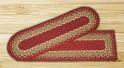 Burgundy, Maroon, and Sunflower Braided Jute Stair Tread - Oval