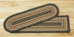 Black, Mustard, and Creme Braided Jute Stair Tread - Oval