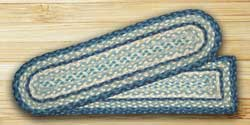Breezy Blue, Taupe, and Ivory Braided Stair Tread - Rectangle