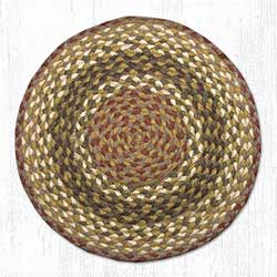 Olive, Burgundy, and Gray Braided Jute Chair Pad