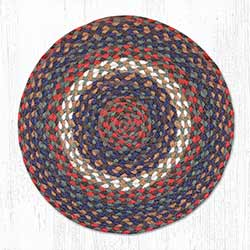 Burgundy and Gray Braided Jute Chair Pad