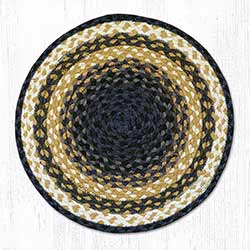 Light Blue, Dark Blue, and Mustard Braided Jute Chair Pad