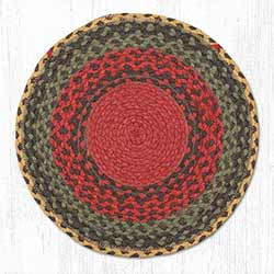 Burgundy, Green, and Sunflower Braided Jute Chair Pad