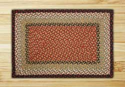 Burgundy and Mustard Braided Jute Rug, Rectangle - 20 x 30 inch