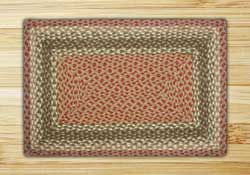 Olive, Burgundy, and Gray Braided Jute Rug, Rectangle - 20 x 30 inch