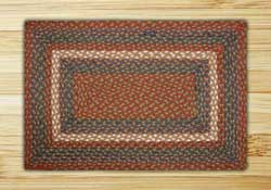Burgundy, Blue, and Gray Braided Jute Rug, Rectangle - 20 x 30 inch