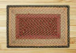 Burgundy, Gray, and Creme Braided Jute Rug, Rectangle - 20 x 30 inch