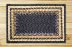 Light Blue, Dark Blue, and Mustard Braided Jute Rug, Rectangle - 27 x 45 inch