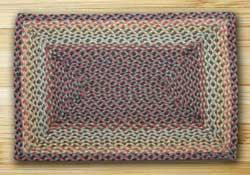 Burgundy, Black, and Sage Braided Jute Rug, Rectangle - 20 x 30 inch