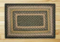 Black, Mustard, and Creme Braided Jute Rug, Rectangle - 27 x 45 inch