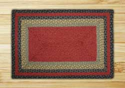 Burgundy, Olive, and Charcoal Braided Jute Rug, Rectangle - 27 x 45 inch