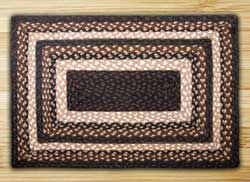 Mocha and Frappuccino Braided Jute Rug, Rectangle - 27 x 45 inch