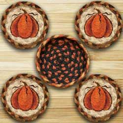 Harvest Pumpkin Braided Coaster Set