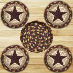 Burgundy Star Braided Coaster Set