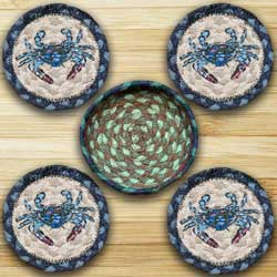 Blue Crab Braided Coaster Set