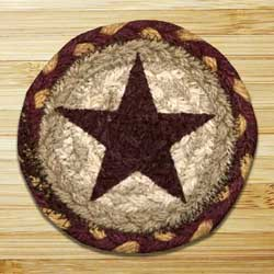 Burgundy Star Jute Coaster