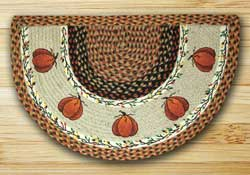 Harvest Pumpkin Half Moon Braided Jute Rug -  Small