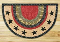 Black Stars Half Moon Braided Jute Rug -  Small
