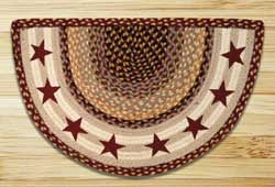 Burgundy Stars Half Moon Braided Jute Rug -  Small