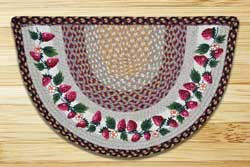 Strawberries Half Moon Braided Jute Rug -  Small