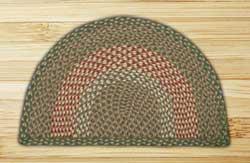 Green and Burgundy Half Moon Braided Jute Rug - Large