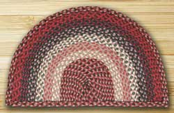 Burgundy Half Moon Braided Jute Rug - Small
