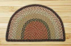 Burgundy and Mustard Half Moon Braided Jute Rug - Small