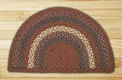 Burgundy and Gray Half Moon Braided Jute Rug - Small