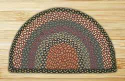 Burgundy, Blue, and Gray Half Moon Braided Jute Rug - Small