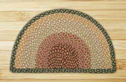 Burgundy, Gray, and Creme Half Moon Braided Jute Rug - Large