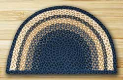 Light Blue, Dark Blue, and Mustard Half Moon Braided Jute Rug - Large