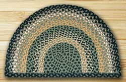 Black, Mustard, and Creme Half Moon Braided Jute Rug - Large