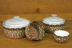 Olive, Burgundy, and Gray Braided Jute Baskets (Set of 4)