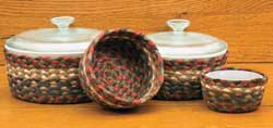 Burgundy and Gray Braided Jute Baskets (Set of 4)