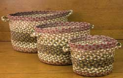 Olive, Burgundy, Gray Braided Utility Basket - Large