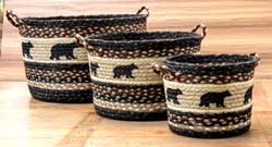 Cabin Bear Printed Jute Utility Basket - Small