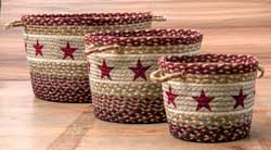 Burgundy Star Printed Jute Utility Basket - Large