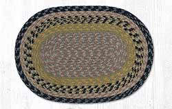Brown, Black, and Charcoal Cotton Braided Placemat - Oval