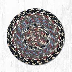 Burgundy, Blue, and Gray Cotton Braid Trivet