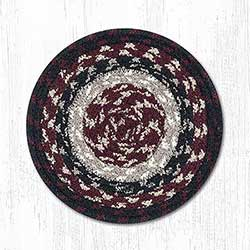 Burgundy, Black, and Tan Cotton Braid Trivet