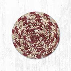 Olive, Burgundy, and Gray Cotton Braid Coaster