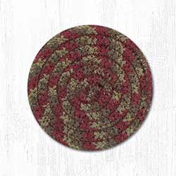 Burgundy and Gray Cotton Braid Coaster