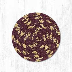 Burgundy, Gray, and Mustard Cotton Braid Coaster