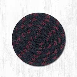 Burgundy, Black, and Tan Cotton Braid Coaster