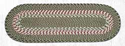 Green and Burgundy Cotton Braid Tablerunner - 36 inch