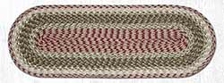Olive, Burgundy, and Gray Cotton Braid Tablerunner - 36 inch