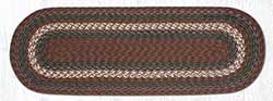 Burgundy and Gray Cotton Braid Tablerunner - 36 inch